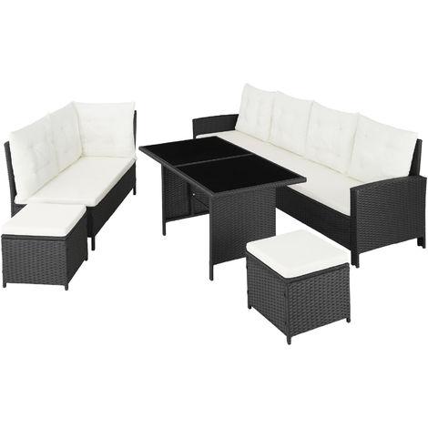 salon de jardin barletta modulable 1 canape d angle 1 table 2 poufs tabourets en resine tressee noir