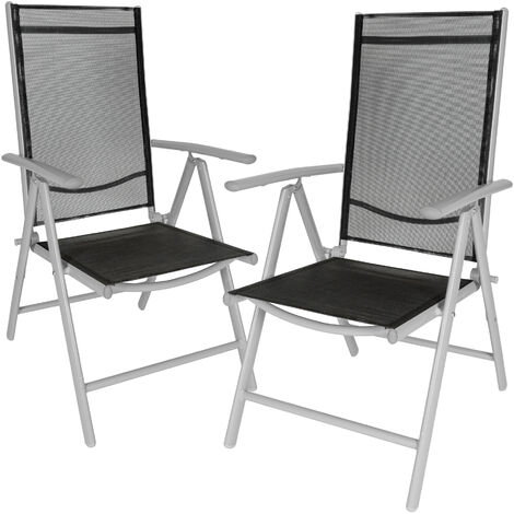 2 chaises de camping ou de jardin pliables aluminium avec accoudoirs et dossier haut gris argent noir