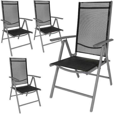 4 chaises de camping ou de jardin pliables aluminium avec accoudoirs et dossier haut gris anthracite noir