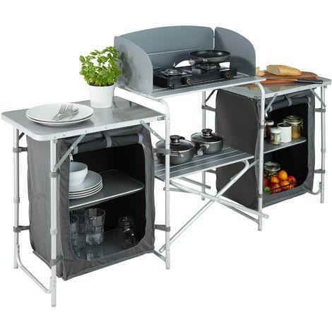 cuisine d exterieur cuisine de camping pliante meuble camping de rangement 164 5 cm x 52 cm x 104 cm