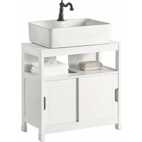 sobuy under sink bathroom storage cabinet with sliding door white frg128 w