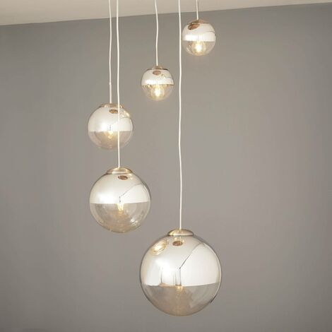 Pendenti in cristallo con sfere di vetro color lampadario zibo. Lampada A Sospensione Ravena Con 5 Sfere Di Vetro