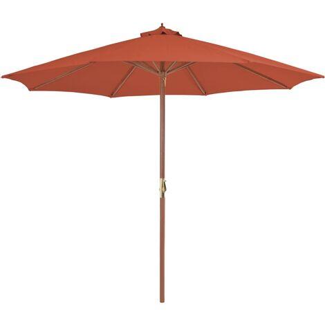 parasol d exterieur avec mat en bois 300 cm terre cuite