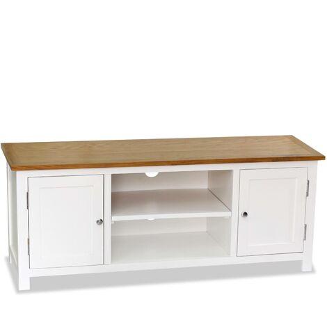 meuble tv bois de chene massif 120x35x48 cm modele 2