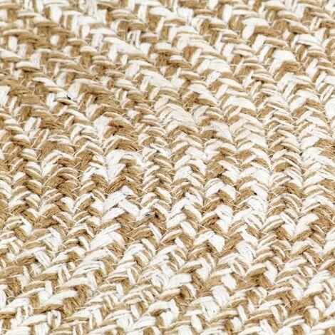 tapis fait a la main jute blanc et naturel 120 cm
