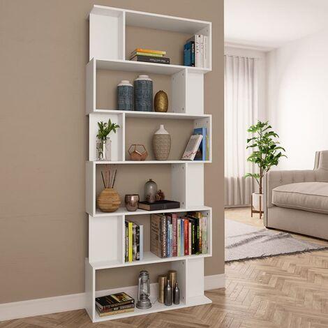 bibliotheque separateur de piece 80x24x192 cm agglomere blanc