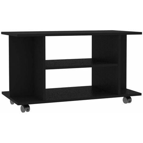 meuble tv avec roulettes agglomere 80x40x40 cm noir