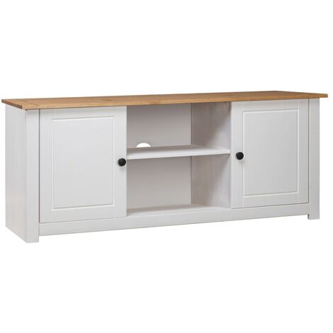 meuble tv 120x40x50 cm bois de pin massif assortiment panama blanc