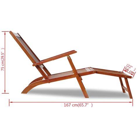 chaise de terrasse avec repose pied bois d acacia solide