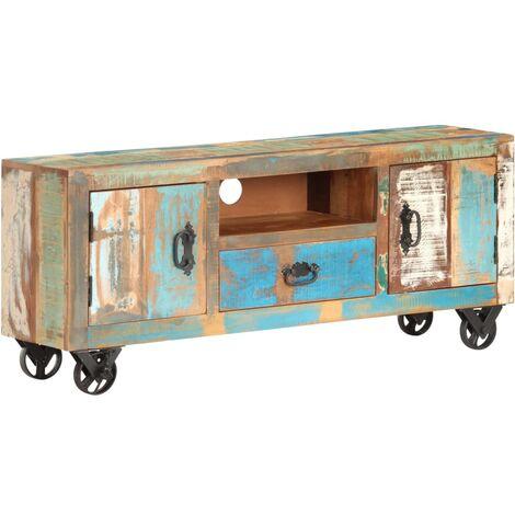 meuble tv 120x30x50 cm bois de recuperation solide