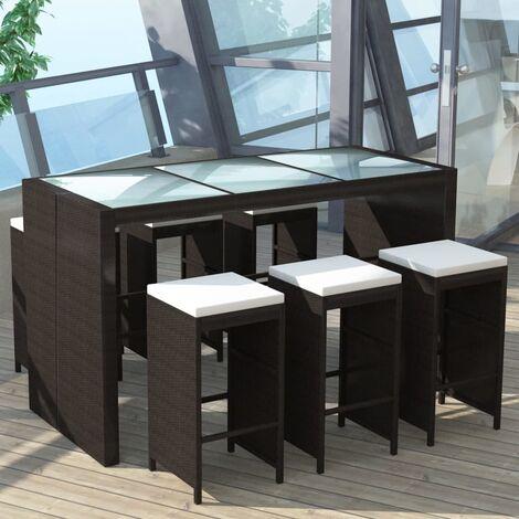 meuble de bar de jardin 7 pcs et coussins resine tressee marron