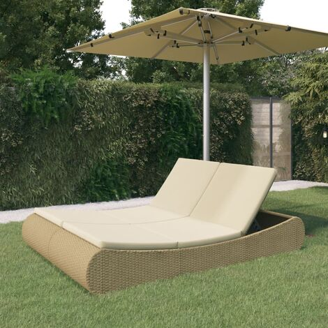 chaise longue d exterieur resine tressee beige