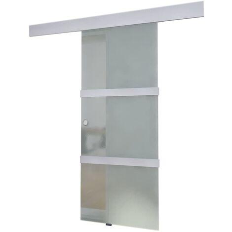 porte coulissante verre et aluminium 178 cm argente