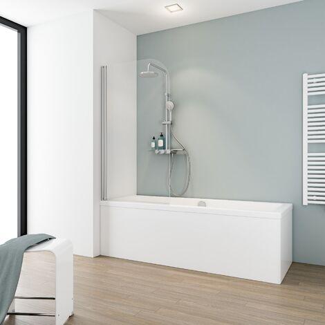 pare baignoire rabattable sans percer 80 x 140 cm verre 5 mm paroi de baignoire avec kit a coller profile aspect chrome verre transparent capri