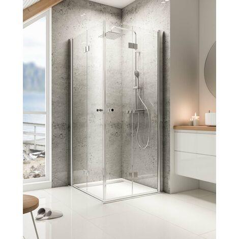 acces d angle droit avec portes de douche pivotantes pliantes verre 6 mm profile aspect chrome masterclass schulte 80 x 80 x 200 cm