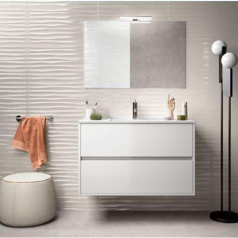 meuble de salle de bain suspendu 90 cm blanc laque avec lavabo en porcelaine avec miroir et lampe led
