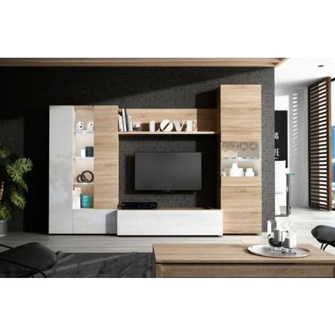 ensemble meuble tv essential 260 cm blanc brillant et chene clair chene clair