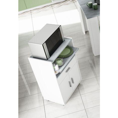 armoire micro ondes 92 cm blanc matt et ciment avec deux portes et un tiroir blanc