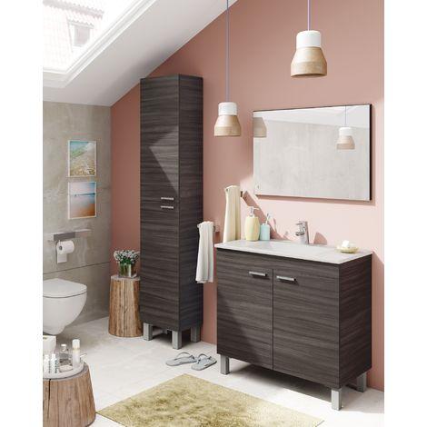 meuble de salle de bain sur le sol 80 cm gris cendre avec miroir et lavabo en ceramique standard gris cendre