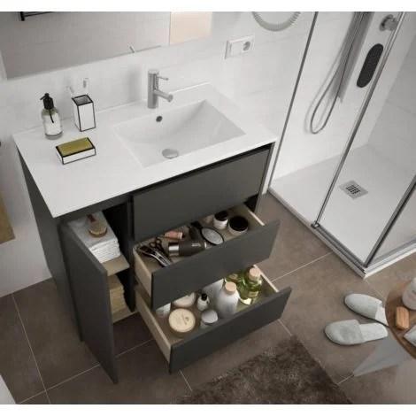 meuble de salle de bain sur le sol 85 cm gris opaque avec lavabo vasque droite standard