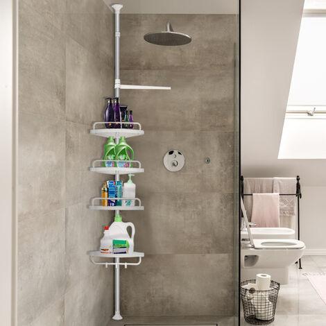 oobest etagere telescopique d angle de douche hauteur reglable 120 304 cm avec porte serviette savon bain douche
