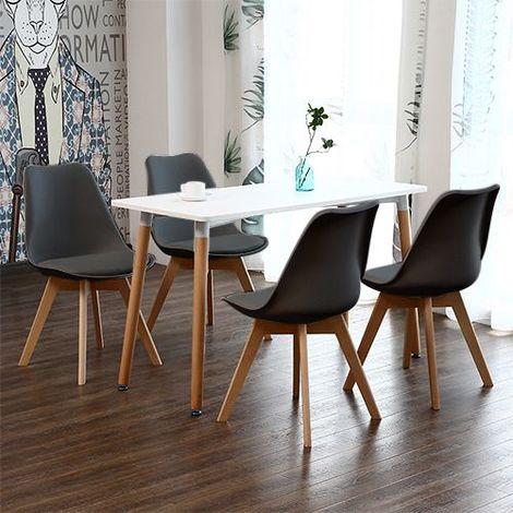 ensemble table a manger blanche 4 chaises scandinaves noire pour salle a manger ou cuisine