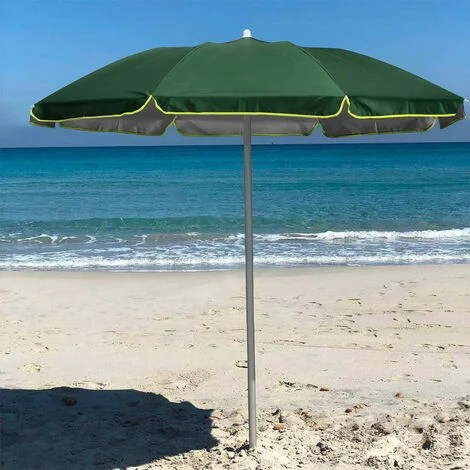 parasol de plage pliable portable leger voyage moto 180 cm pocket vert fonce