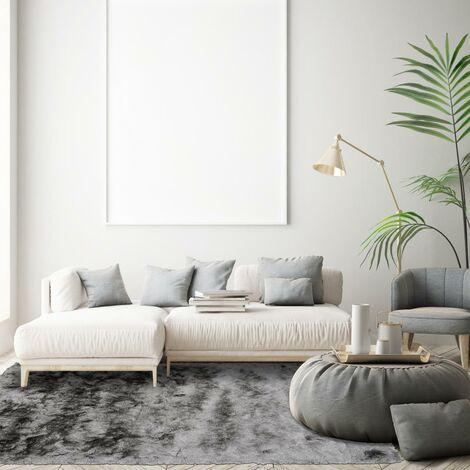 tapis shaggy poils long 80x140 cm rectangulaire sg fin gris chambre tufte main adapte au chauffage par le sol