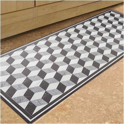 tapis de cuisine 150x200 cm rectangulaire vinyle valancia gris cuisine adapte au chauffage par le sol