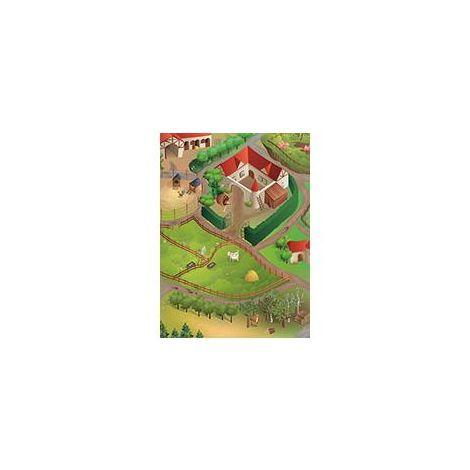 tapis enfant 100x150 cm rectangulaire ferme multicolore chambre adapte au chauffage par le sol