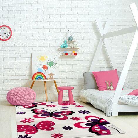 tapis enfant 120x170 cm rectangulaire kids papillons autre chambre adapte au chauffage par le sol
