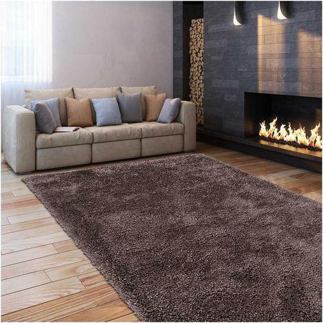tapis shaggy poils long 80x140 cm rectangulaire sg luxe gris chambre tufte main adapte au chauffage par le sol