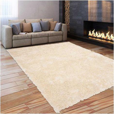 tapis shaggy poils long 60x110 cm rectangulaire sg luxe beige entree tufte main adapte au chauffage par le sol