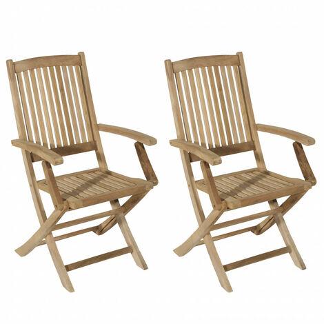 ensemble de 2 fauteuils de jardin lombock en bois teck marron