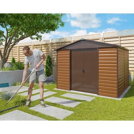 abri de jardin metal imitation bois 6 44 m2 yardmaster kit d ancrage