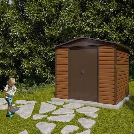 abri de jardin metal imitation bois 4 20 m2 yardmaster kit d ancrage