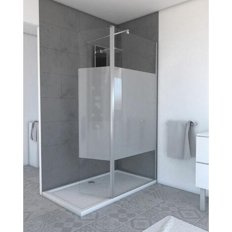volet pivotant a bande depolie pour paroi de douche a l italienne 40x200cm verre depolie 6mm