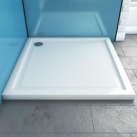 receveur de douche a poser extra plat anti derapant en acrylique blanc carre 80x80 bac de douche