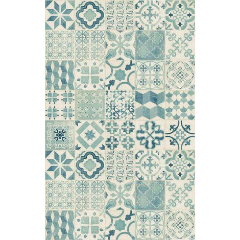 tapis vinyle carreaux de ciment bleu 100 x 160 cm