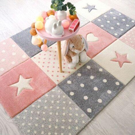 tapis enfant fille etoile et coeur rose pastel gris creme 120 x 170 cm