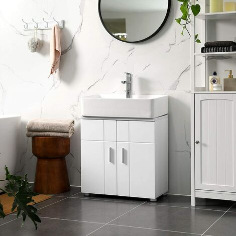vasagle under sink storage cabinet bathroom vanity basin cabinet with double door adjustable shelf soft close hinges adjustable feet 60 x 30 x 60