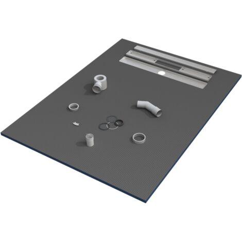 receveur de douche 150x90x3 cm ecoulement lineaire pret a carreler avec siphon grille en inox