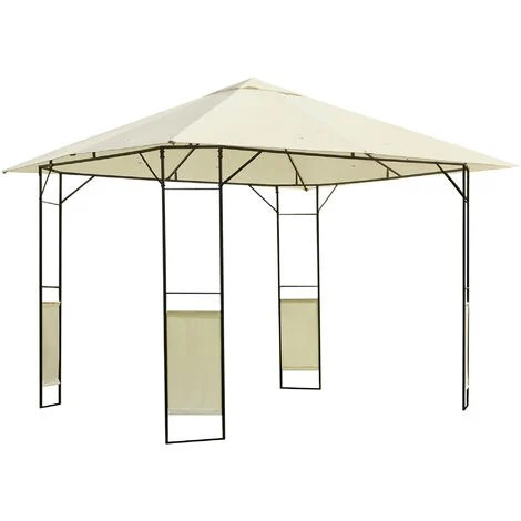 outsunny 3 x 3m patio gazebo marquee steel frame w canopy awning cream