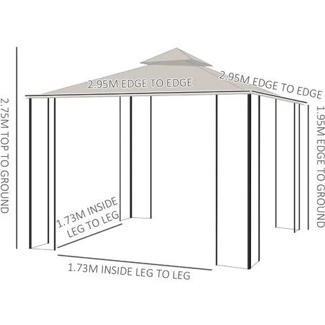 outsunny 3 x 3m gazebo outdoor patio party tent shelter garden canopy 2 tier roof beige