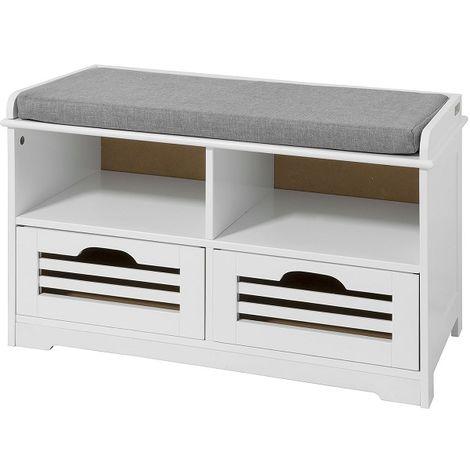 meuble d entree banc de rangement commode a chaussure avec coussin rembourre 2 compartiments ouverts et 2 cubes sobuy fsr36 k w