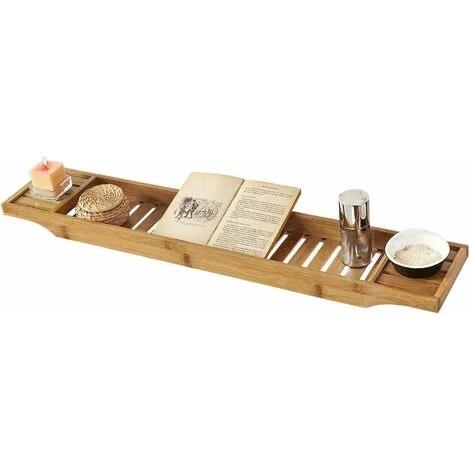 pont de baignoire en bambou porte savon et gel douche serviteur de baignoire l80cmxp15cmxh4cm frg212 n sobuy