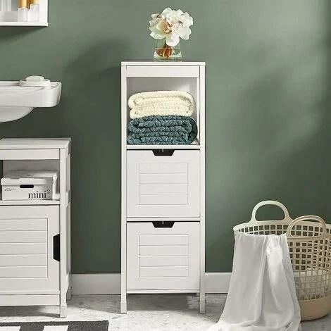 meuble colonne meuble bas de salle de bain armoire toilette 1 etage et 2 tiroirs frg127 w sobuy