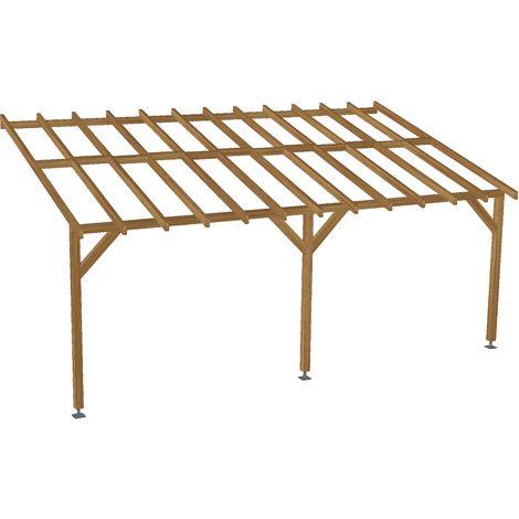 toit de terrasse 6x3 pente 30 bois massif traite cl3 marron durable sans la visserie et sans les pieds de poteaux