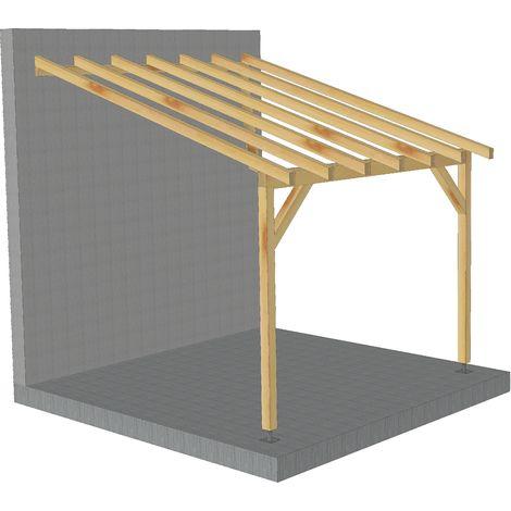 toit de terrasse 3x3 tuilable pente 30 bois massif robuste sans la visserie et sans les pieds de poteaux