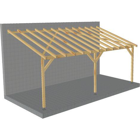 toit de terrasse 6x3 tuilable pente 30 bois massif robuste sans la visserie et sans les pieds de poteaux